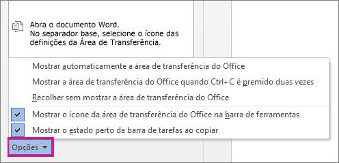 Opções da Área de Transferência no Word 2013