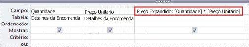 Utilização de uma expressão para criar um campo calculado numa consulta.