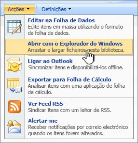 A opção de menu Open in Windows Explorer no âmbito de Ações