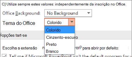 Mudar automaticamente de temas do Office