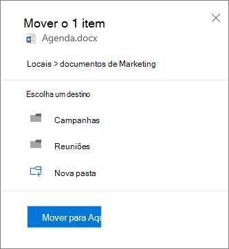 Screenshot de mover um ficheiro do OneDrive para o Negócio saem para um site do SharePoint