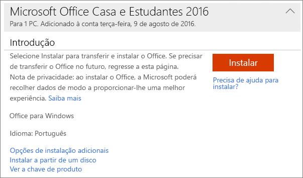 Mostra a ligação Ver a chave de produto para uma instalação única do Office