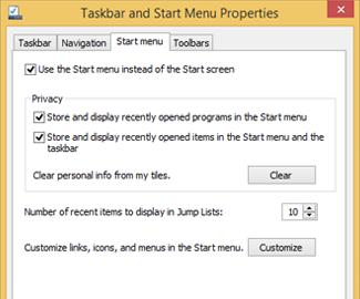 Propriedades do menu Taskbar e Start
