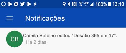 Obtenha notificações no centro de notificações do Android quando as colagens editarem os seus ficheiros partilhados