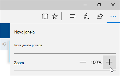 Captura de ecrã do menu Definições e mais no Microsoft Edge