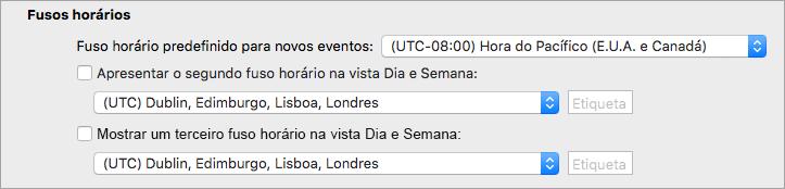 Mostra o segundo e terceiro fuso horário nas preferências do calendário