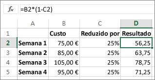 Exemplo que mostra redução de um montante por uma percentagem