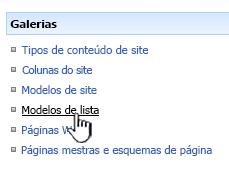 Link de modelo de lista no menu das Galerias