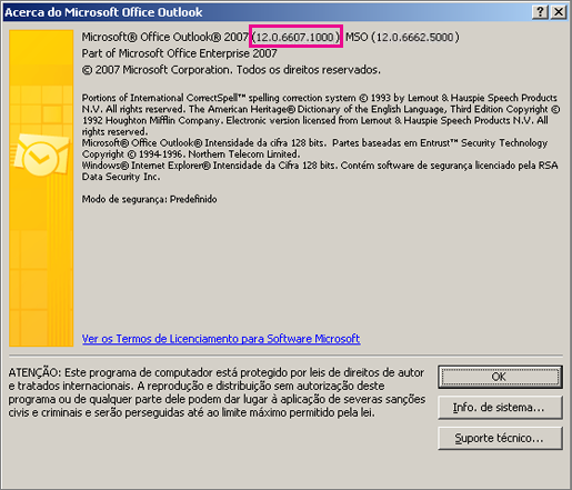 "Captura de ecrã a mostrar onde o número da versão do Outlook 2007 é apresentado na caixa de diálogo ""Acerca do Microsoft Office Outlook""."