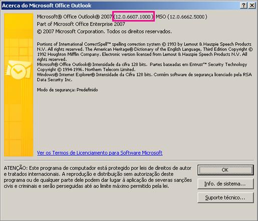 """Captura de ecrã que mostra onde o número de versão do Outlook 2007 é apresentada na caixa de diálogo """"Acerca do Microsoft Office Outlook""""."""