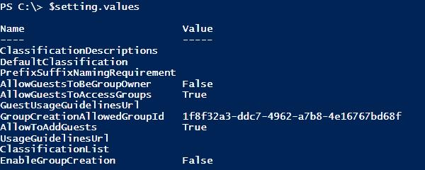 Captura de ecrã da lista de valores de configuração atuais