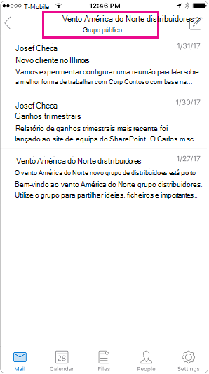 Vista de conversação móvel do Outlook com cabeçalho realçada