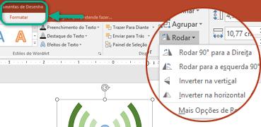 Os comandos de rotação estão disponíveis no separador Formatar das Ferramentas de Desenho do friso da barra de ferramentas. Selecione o objeto que pretende rodar e, em seguida, clique no friso.