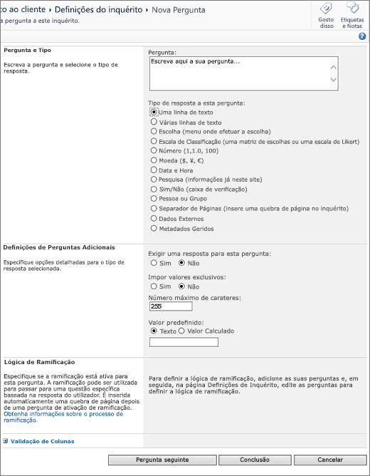 Página de perguntas do SharePoint 2010