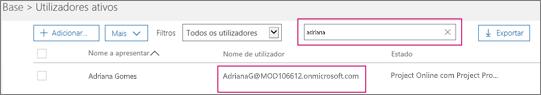 """Captura de ecrã a mostrar uma secção da página Utilizadores ativos com um termo de pesquisa, """"inês"""", escrito na caixa de pesquisa adjacente para a opção Filtros, que está definida para Todos os utilizadores. Abaixo, são apresentados o nome de utilizador e o nome a apresentar completos."""
