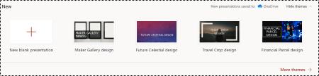 Seleção de temas na página de boas-vindas no PowerPoint online.