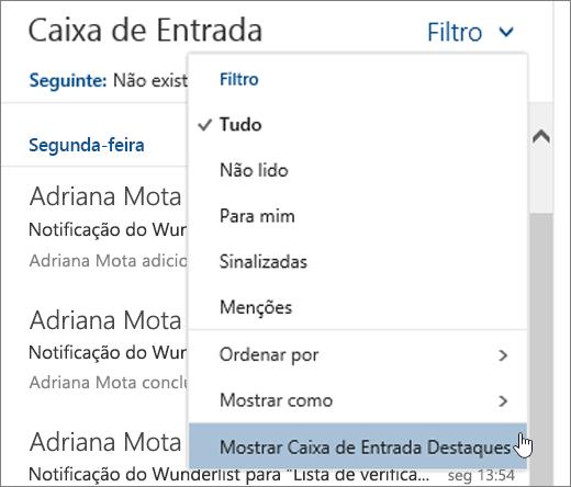 Uma captura de ecrã a mostrar o menu Filtrar com a opção Mostrar a Caixa de Entrada Destaques selecionada