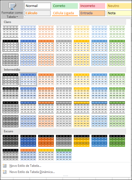 Galeria de Estilos de Tabela do Excel
