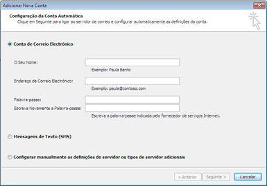 Caixa de diálogo Adicionar Nova Conta com a conta de correio eletrónico selecionada