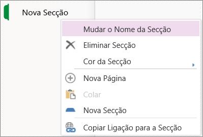 Opção Mudar o nome da secção no OneNote Online.