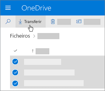 Captura de ecrã a mostrar a seleção e transferência dos ficheiros do OneDrive.