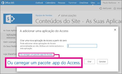 Carregar um pacote .app do Access para a página Adicionar uma aplicação num site do SharePoint
