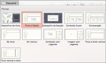 No separador Base, clique em Esquema para alterar o aspeto do diapositivo