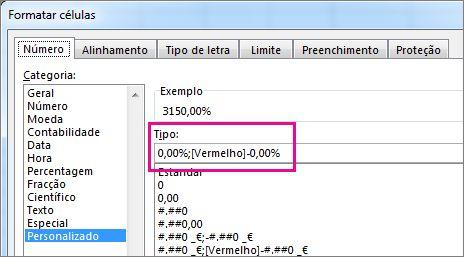 Formatação personalizada para apresentar percentagens negativas a vermelho
