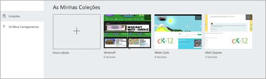 Coleções de sites na conta de recursos de educação
