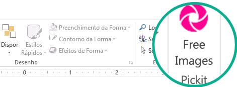Após instalar o suplemento Pickit Free Image, este é apresentado na extremidade direita no separador Base do Friso.