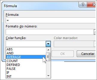 Botão Fórmula com menu de funções
