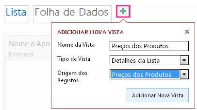 Adicionar uma vista da Folha de Dados da consulta à tabela de origem.