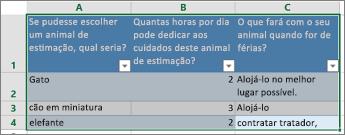 Para imprimir as perguntas e respostas de uma pesquisa, selecione células que contenham respostas.