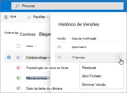 Captura de ecrã de restaurar uma ficheiros no OneDrive para empresas a partir do histórico de versões no painel de detalhes na experiência moderna