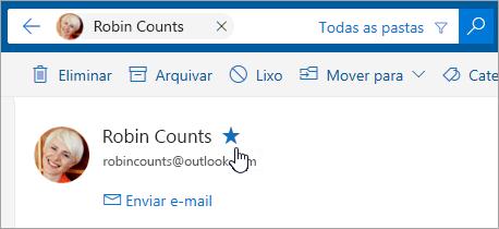 Uma captura de ecrã a mostrar o botão Adicionar aos Favoritos
