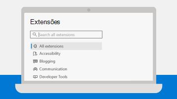 Imagem da página de Suplementos do Microsoft Edge num portátil