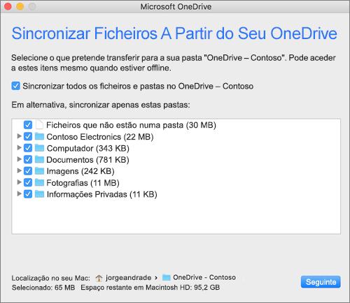 Screenshot do menu de configuração OneDrive para selecionar quais pastas ou ficheiros sincronizar.