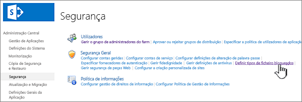 Definir ficheiros bloqueados da segurança da administração central
