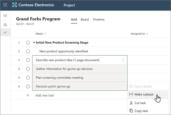 A seleção de menus de sub-tarefas dentro de um projeto em Projeto