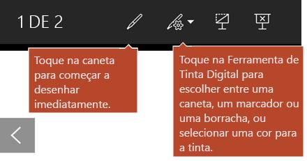 Ferramentas de tinta digital disponíveis na vista de apresentação de diapositivos