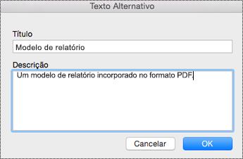Adicionar texto alternativo a ficheiros incorporados no OneNote para Mac