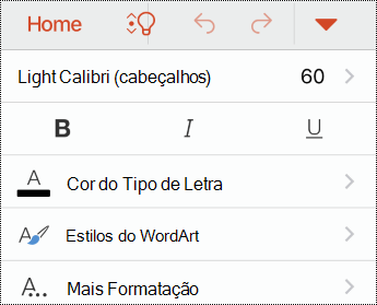 Menu tipo de letra no PowerPoint para iOS.