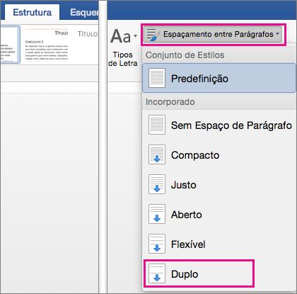 No separador Estrutura, a opção Duplo em Espaçamento Entre Parágrafos está realçada.