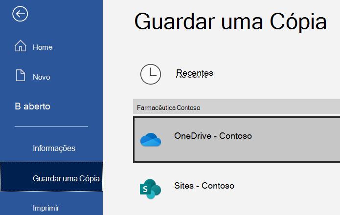Screenshot do Word Guarde uma opção de cópia