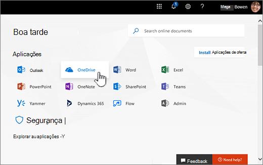 Ecrã principal do Office 365 com o OneDrive selecione