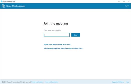 Ecrã de aplicação de reuniões do Skype