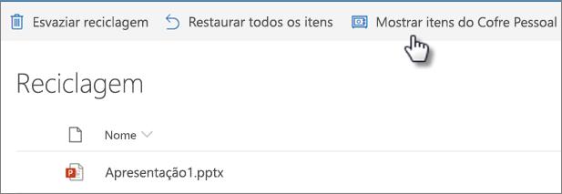 """Vista da Reciclagem do OneDrive a mostrar a opção """"Mostrar itens do cofre pessoal"""""""