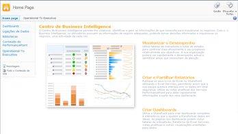 Centro de Business Intelligence, que contém informações e hiperligações úteis para começar