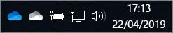O Cliente de Sincronização do OneDrive com ícones de nuvem branca e de nuvem azul