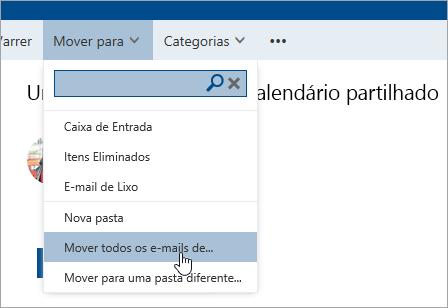 Uma captura de ecrã a mostrar a opção Mover todos os e-mails de